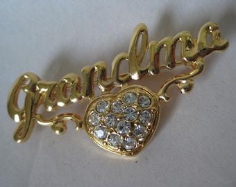 Grandmother Heart Brooch Gold Clear Rhinestone Vintage Pin