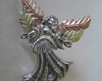 Angel Sterling 12K Gold Brooch Pin Silver Black Hills Vintage Lapel Coleman