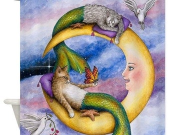 Shower Curtains, Art Shower Curtain Bathroom Cat Mermaid 29 Moon Fantasy art painting L.Dumas