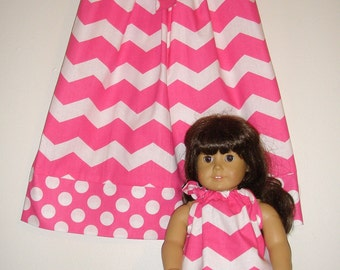 dolly and me Dress pink white chevron  pillowcase dress  matching  American Girl Doll  2t, 3t, 4t, 5t,6,7,8,10,12