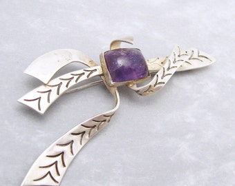 Vintage Mexican Sterling Amethyst Brooch Retro Forties Jewelry P5860