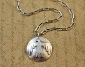 """Thunderbird, sterling silver, 7/8"""" disk, charm, pendant, Native American, Southwest, tribal, bird, symbol, western, cowgirl, rustic, chain"""