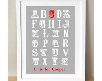 Custom Alphabet Print for Nursery, Vintage Alphabet Print, Vintage Nursery Print, Grey Nursery Print- GREY OR PINK