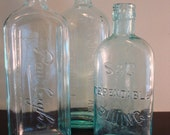 Three old aqua advertising bottles for one price- beautiful, vintage