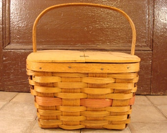 Solid vintage woven ash pie basket with hinged, removable lid and wood pie rest- fixed wood handle