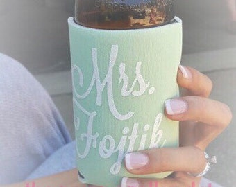 Personalized Mrs Can or Bottle Holder - Future Mrs - Bride to Be