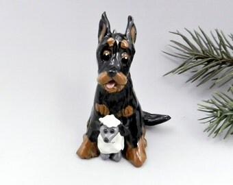 Beauceron Christmas Ornament Figurine Sheep Toy Porcelain
