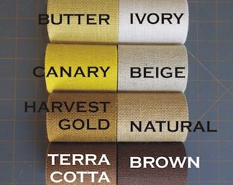 3.5 Inch Burlap Ribbon - Terracotta - Gold - Yellow - Ivory - Natural - Brown