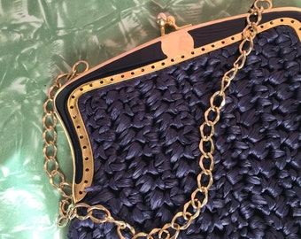 Navy Blue Raffia Marcus Brothers 60s Boho Purse