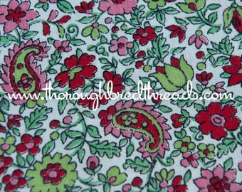 Floral and Paisley - New Old Stock Vintage Fabric 60s 37 in wide Pinks and Greens
