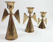 Vintage set of 3 angels candle holders solid metal brass