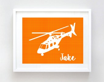 Nursery helicopter art - nursery art print, helicopter, nursery decorating ideas, helicopter for boys, boys nursery