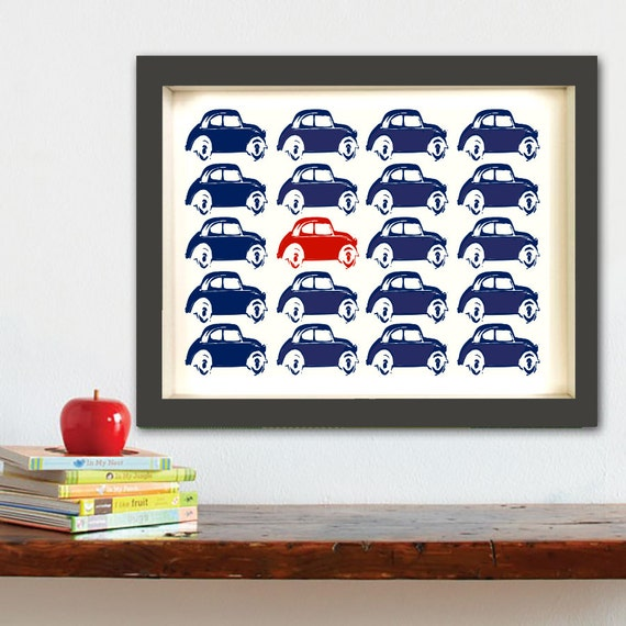Car Nursery Wall Decor : Nursery car park kids art prints wall decor cars blue