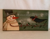 Snowman handpainted sign