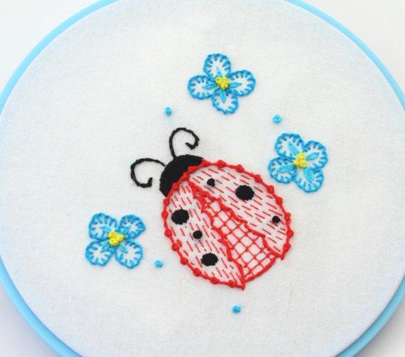 Ladybug Embroidery Pattern Mushroom design hand embroidery pattern