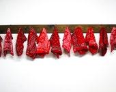 vintage wholesale bandanas /  bulk lot of red bandanas / vintage handkerchiefs / DIY or craft project / 11 pieces