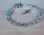 Aquamarine & Sterling Silver Rosary Bracelet with Swarovski Crystal