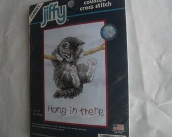 Jiffy Embroidery Needle Kitten Kit New Counted Cross Stitch