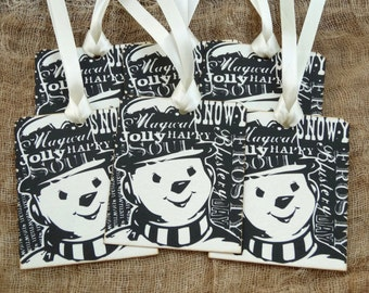 Snowman Chalkboard Style Word Art Chirstmas Tags #483