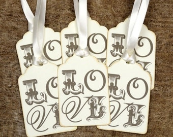 Vintage Style Love Wedding Favor Wish Tree or Valentine Gift or Scrapbook Tags #133
