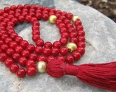 Bamboo Coral Mala Prayer Beads Rosary - Red and Gold
