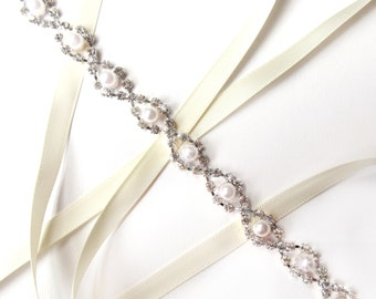 Headband - Delightful Pearl and Rhinestone Bridal Headband or Thin Belt in Silver - Wedding Headband or Skinny Sash - Silver and Crystal
