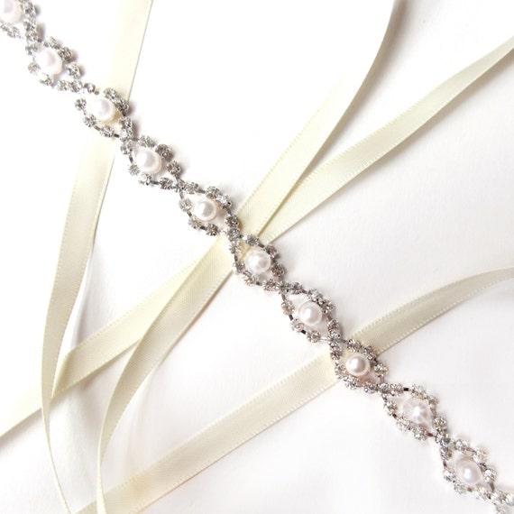 Delightful Pearl and Rhinestone Bridal Headband or Thin Belt Quailman Belt Headband