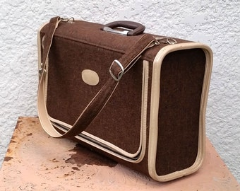 Vintage Skyway Chocolate Brown Suitcase with Cream Trim, Includes Original Carrying Strap