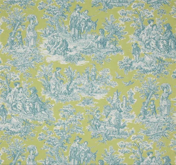 Items similar to blue green curtains toile window curtains cottage decor s - Toile decorative murale ...