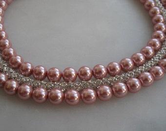 Wedding pink glass  cylinder rhinestone chain , pearl necklace, Bridal,  rhinestone magnet closure Pearl  necklace