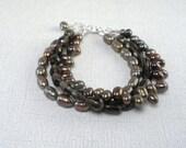 Smoky Quartz Bracelet Brown Pearl Bracelet 3 Strand Bracelet Brown Pearl Multistrand Sterling Brown Gemstone Jeweled Bracelet Smoky Brown