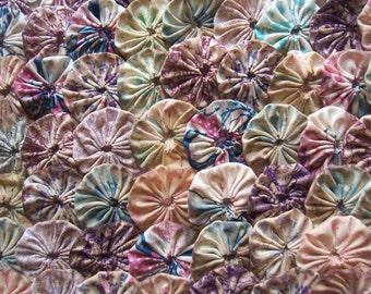 Primitive Fabric Flower 1 1/2 Inch YoYo 60 TEA DYE  Rustic Barrette Hair Clip Trim Applique