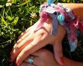 Wildly Bad Girl Felted Bangle Fiber Beaded Bracelet Silk Chiffon Merino Wool Beads Blues & Purples Gift for Her WBG-001