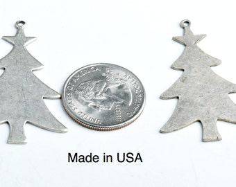 CHRISTMAS TREE Silhouette Charm, Vintage Silver, 3 each 05133AS