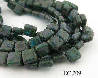 6mm 2 Hole Czech Glass Picasso Sea Blue Green Square Tile Bead (EC 209) 25 pcs BlueEchoBeads