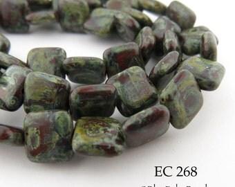 9mm Czech Glass Square Tile Tablet Beads, Deep Garnet Red and Green Picasso (EC 268) 20 pcs BlueEchoBeads