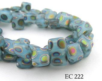 6mm 2 Hole Czech Glass Light Blue Peacock Square Tile Bead (EC 222) 25 pcs BlueEchoBeads