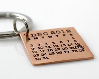 Mark Your Calendar Keychain in copper – the original hand stamped calendar