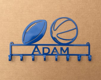 Medal Holder with 2 Sport Balls of your Choice and Custom Text Field with 8 Hooks   (Z24)