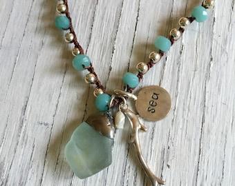 Sea Glass Beaded Necklace Crochet semi Precious Stones.