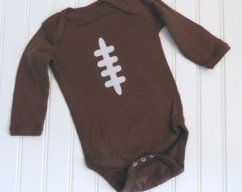 READY TO SHIP Great Costume / Baby Shower Gift long sleeve bodysuit- Football sewn applique for boys or girls