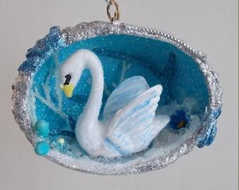 Winter Snow Blue Picture Swan Egg Ornament
