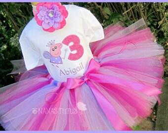 3pc, Birthday Peppa Fairy,  Party Outfit, Theme Party, Tutu Set, Birthday, Photo Shoot, Parties, Sizes 1yr thru 6yrs