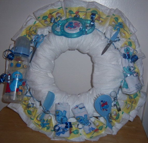 Baby shower sesame street diaper wreath - Sesame street baby shower ...