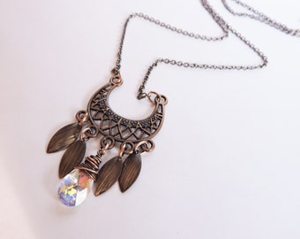 Antique Copper and Swarovski Exotic Chandelier Necklace