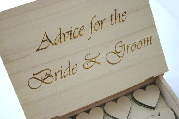Advice For The Bride And Groom Engraved Wooden Box Guest Book