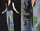 Reserved Vintage 70s Patched Jeans 1970s Embroidered Faded Bell Bottoms