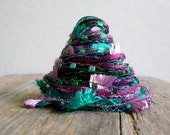 hummingbird fiber effects™  12yds specialty art yarn bundle embellishment ribbons  . emerald green teal violet purple . sparkle yarn pack