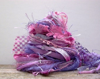 fairytale fringe effects™  fiber art yarn bundle 21yds specialty ribbons trims embellishments . pink purple novelty yarn pack
