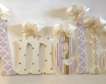 Wall Decor GLITTERED lavender gold cream Wall Letters Wooden Letters Wall Letters Wooden Name Letters Wooden Sign  Wall Hanging Room Decor